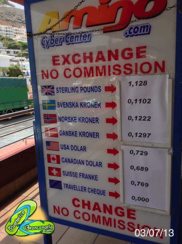 Gran Canaria Exchange Rate July 2013