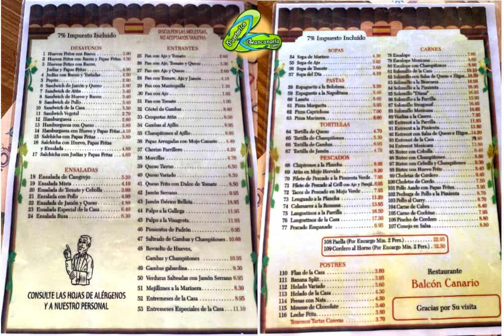 Restaurante Balcon Canario Menu Puerto Rico